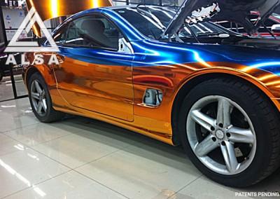 Orange & Blue chrome car 1