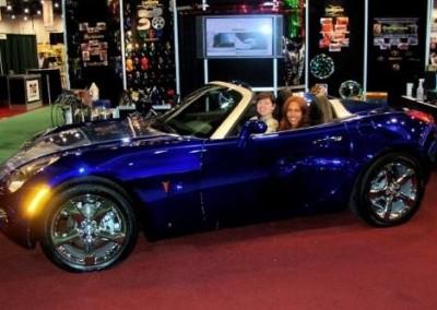 Blue Chrome Sprayed Car