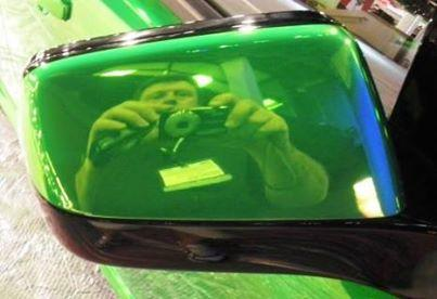 Green Chrome Sprayed Car Mirror