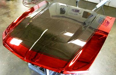 Red Chrome Sprayed & Carbon Coated Bonnet