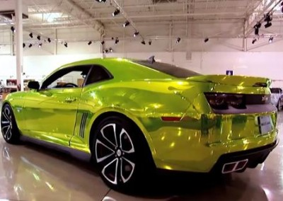 Yellow Chrome Sprayed Car