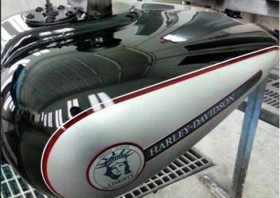 Black Chrome Sprayed Harley Tank