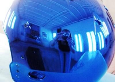 Blue Chrome Sprayed Helmet