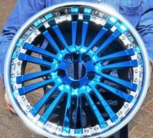 Chrome Sprayed Bue & Silver Rim