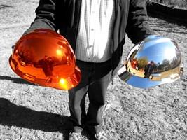 Chrome Sprayed Hard Hats