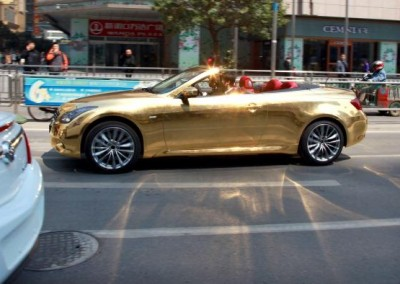 Gold & Chrome Sprayed Car