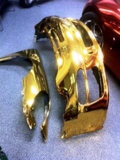 Gold Chrome Sprayed Car Bumpers